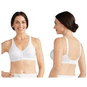 Amoena Greta Wire-Free Bra, Soft Cup, Front and Back Closure, Size 38A, White