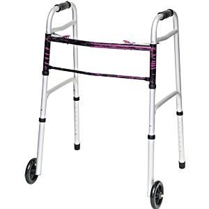 Professional Medical Imports 2 Button Folding Walker with Wheels Flame Fuschia, 300 lb Weight Capacity
